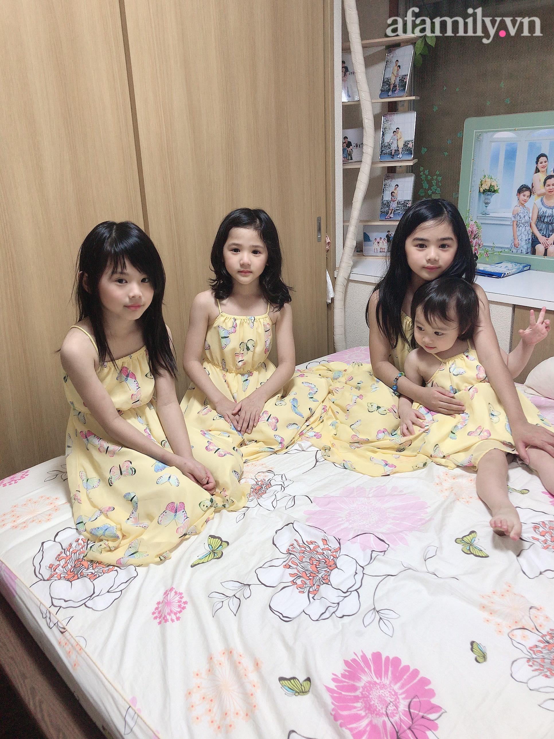 Mẹ Việt 10 năm sinh 4 con gái, nhìn gương mặt của các bé nhiều người tấm tắc: