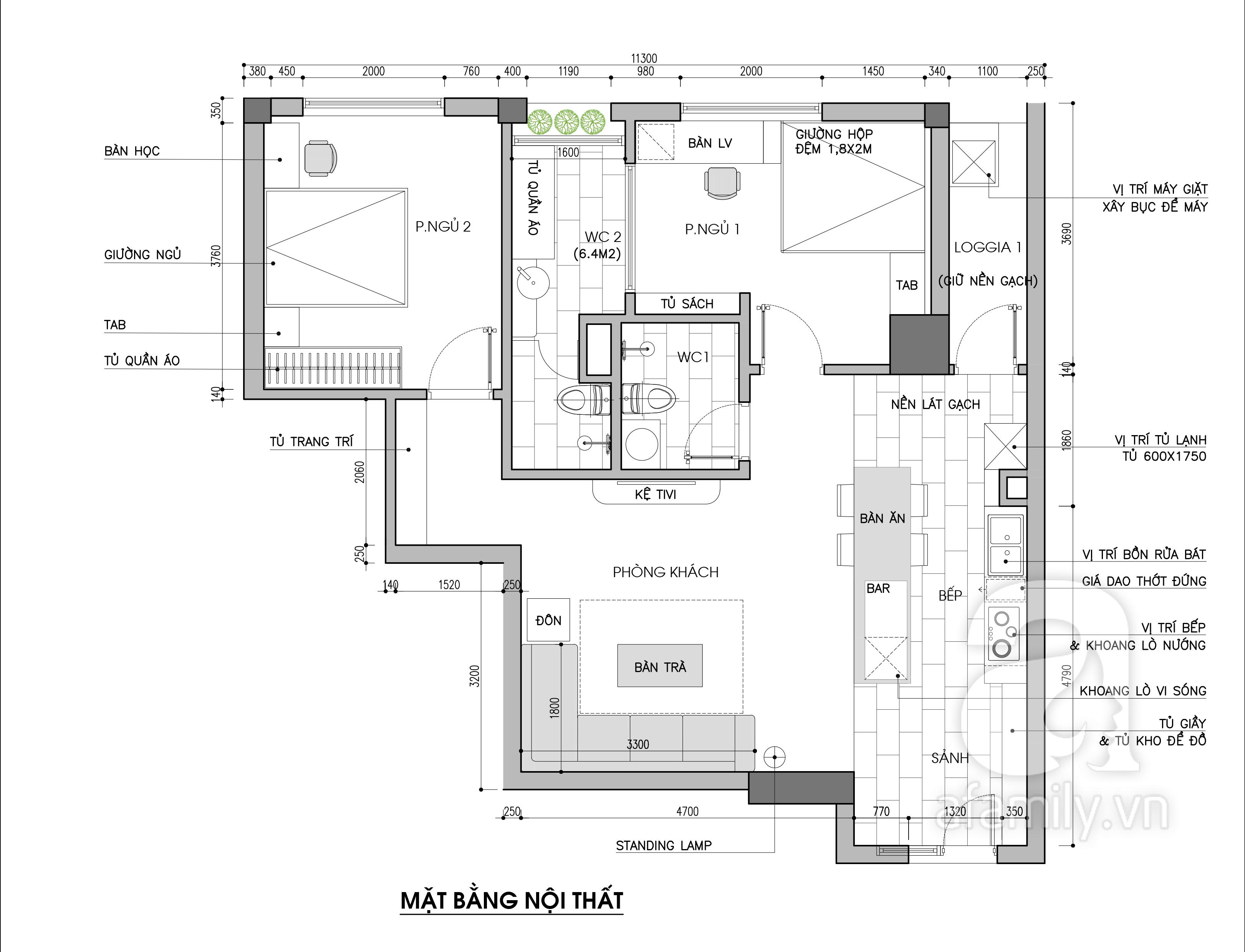 Tư vấn thiết kế cải tạo căn hộ chung cư diện tích 79m² với tổng chi phí 140 triệu đồng - Ảnh 3.