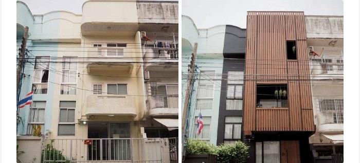 Cặp vợ chồng người Thái tạo bất ngờ khi sửa nhà phố sập sệ tối tăm thành không gian hiện đại, tiện nghi - Ảnh 1.