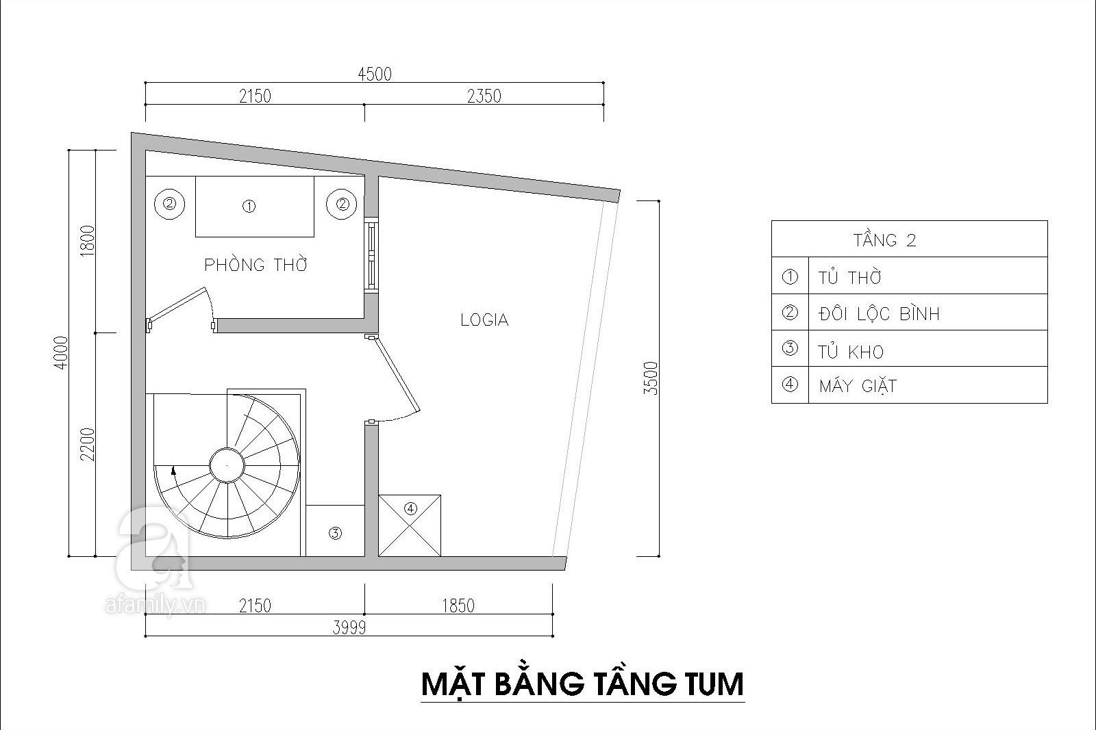 Tư vấn thiết kế nhà 3,5 tầng trên mảnh đất bị xéo với chi phí hơn 4 trăm triệu - Ảnh 4.