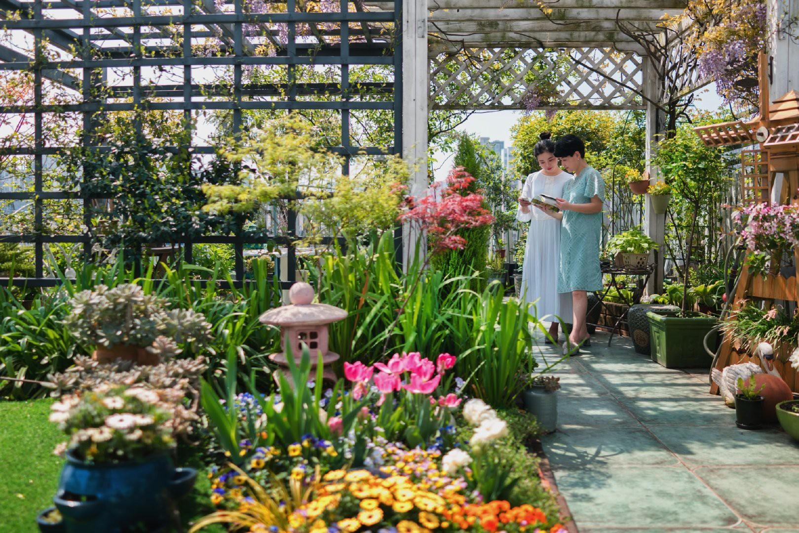Tận dụng mái nhà bỏ hoang, người phụ nữ yêu hoa biến không gian thành khu vườn dịu dàng sắc hoa - Ảnh 8.