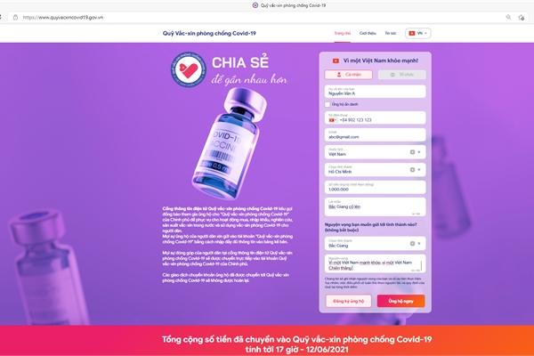 Website Quỹ vắc-xin phòng Covid-19: Kênh tương tác trực tuyến cho nhà tài trợ