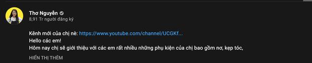 Mới ngày nào khóc lóc tuyên bố giải nghệ, nay Thơ Nguyễn lật kèo, đổi nghệ danh, lập kênh YouTube mới - Ảnh 1.