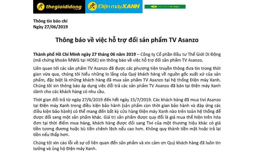 Asanzo phản đối chính sách thu hồi, đổi trả sản phẩm của Điện Máy Xanh, Nguyễn Kim... - Ảnh 1.