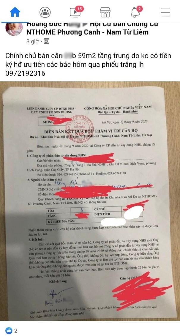 Rầm rộ rao bán quyền được mua căn hộ NƠXH ở Hà Nội - Ảnh 1.