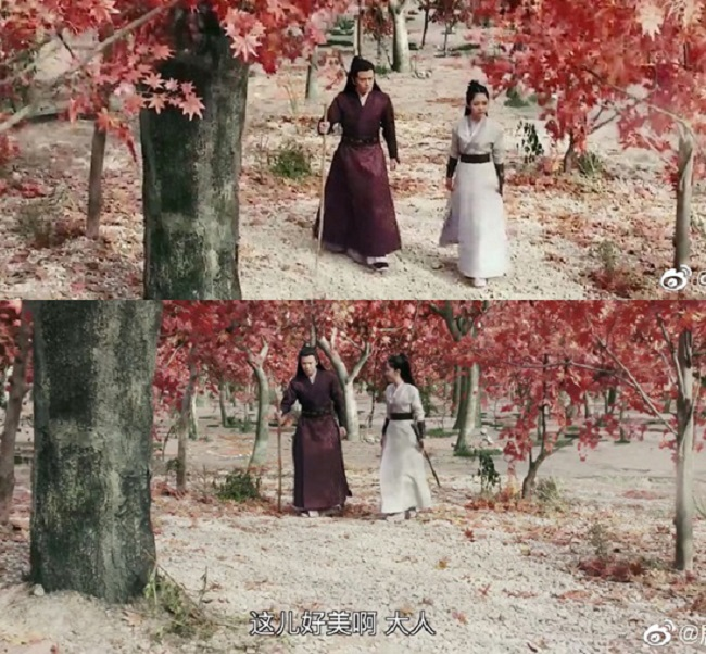 """Rừng phong trong phim được làm từ kỹ xảo nhưng diễn viên cứ phải """"diễn sâu"""" khen ngợi: """"Cảnh nơi đây đẹp quá"""", khiến khán giả lắc đầu cảm thán."""