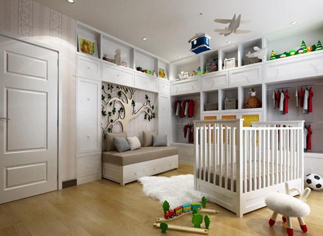 Một góc trong phòng riêng dành cho con trai của hai người được bài trí gọn gàng, hiện đại.