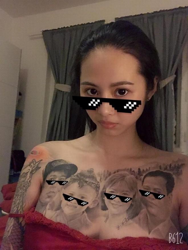 Cô gái Vĩnh Phúc xăm kín ngực bằng bức ảnh chân dung gia đình - 2