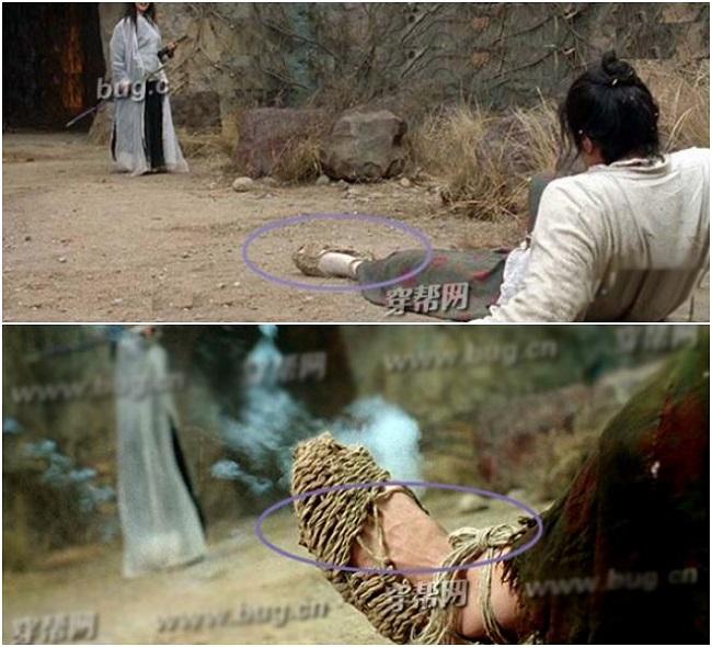 """""""Đại thoại Tây Du"""", bộ phim đình đám một thời của """"vua hài"""" Châu Tinh Trì. Trong cảnh quay Chí Tôn Bảo (Châu Tinh Trì đóng) ngã trên nền đất, khán giả đã nhận ra sự khác biệt khi mấy giây sau, chiếc tất chân của nam diễn viên đã biến mất một cách """"kỳ diệu"""""""