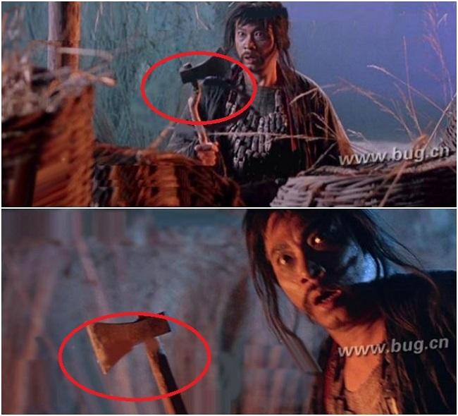 Trong cảnh Nhị Đương Gia (Ngô Mạnh Đạt đóng) cầm chiếc rìu trên tay thì lại chiếc rìu đang cong bỗng nhiên lại thẳng