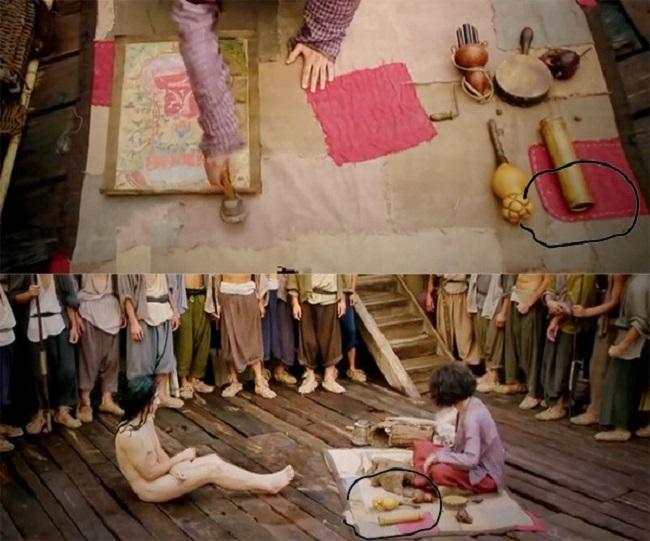 Khán giả phát hiện vị trí ống tre đặt trên miếng vá màu đỏ khác hẳn nhau, khi Trần Huyền Trang xếp thì nằm dưới, nhưng lúc quay toàn thì nằm trên.