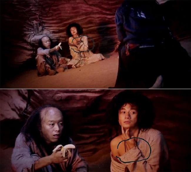Tay áo của Trần Huyền Trang có sự thay đổi khi thực hiện 2 cảnh quay toàn và cận cảnh