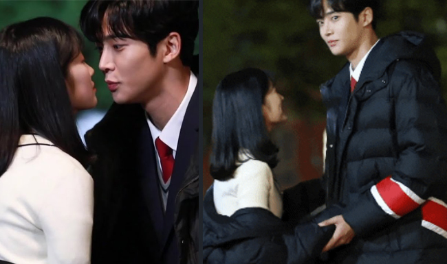 Hai diễn trẻ khá bối rối trước cảnh hôn nên biểu lộ nét mắt khá thẹn thùng khi đối diện máy quay.