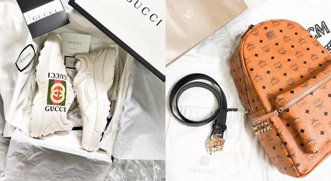 Từ giày hàng hiệu đến thắt lưng đều là hàng xịn có giá hàng chục triệu đồng trở lên.
