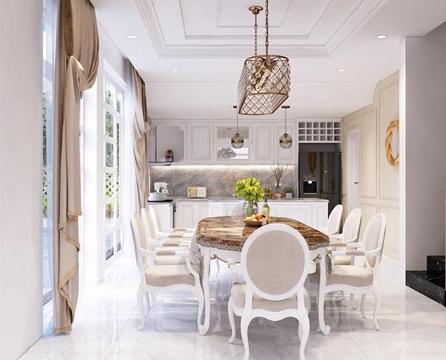 Thiết kế của căn biệt thự rộng 200m2 được nhận xét hiện đại, trang nhã. Căn nhà gần địa điểm trường học của con gái Trịnh Kim Chi.