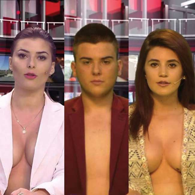 Sau Greta, đài này lại tiếp tục tuyển 2 MC nữa 1 nam, 1 nữ. Tất nhiên đều diện mốt phanh ngực khi lên sóng.