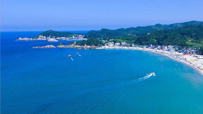 Bãi biển Yonghwa: Bãi biển thành phố Samcheok này có một rừng thông thơm ngát và một dòng suối chảy dọc theo nó.