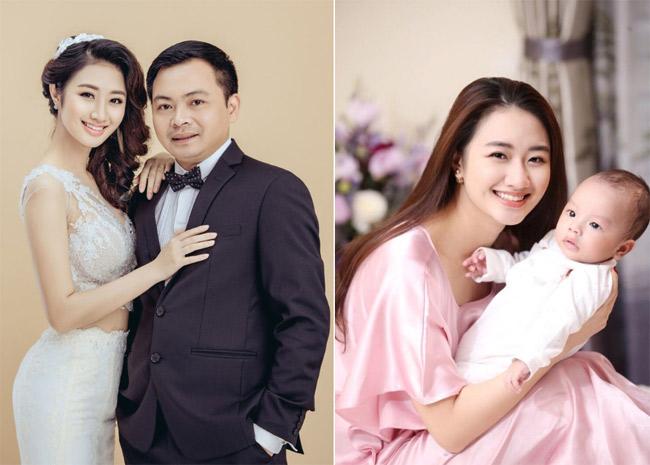 Kết hôn với doanh nhân Doãn Văn Phương năm 2017, người đẹp rời bỏ hẳn showbiz và nay có một em bé kháu khỉnh.