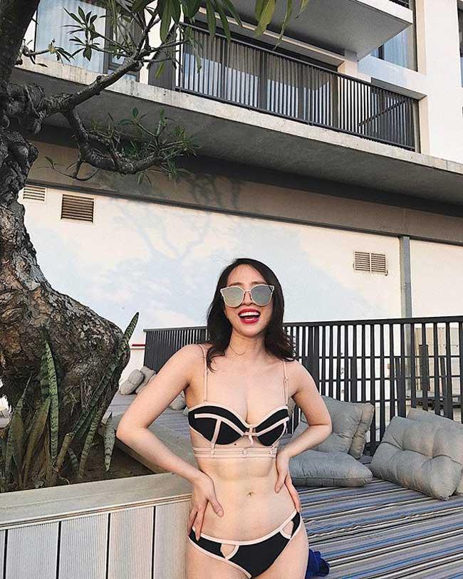 """Sở hữu """"vòng eo đầu 5"""", Quỳnh Nga tự tin diện mọi kiểu bikini táo bạo."""