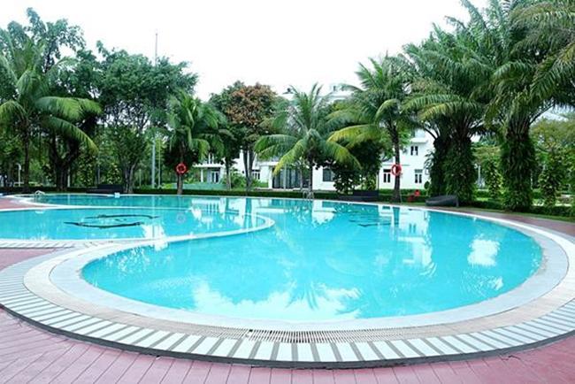 Bể bơi ngoài trời của gia đình Quách Thành Danh.