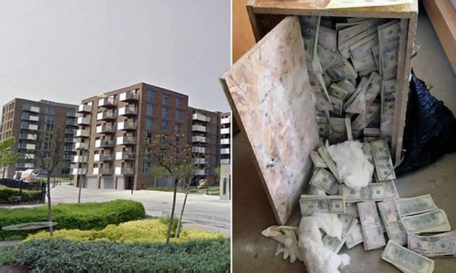 Trong tủgỗ nhỏchứa số tiền lên đến 5 triệu bảng Anh (~155 tỷ đồng). Căn hộ này nằmtrong khu chung cư cao cấp. Ngay khi sự việc được báo cáo, cảnh sát đã có mặt tại hiện trường để điều tra.