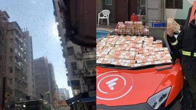 Trước đó, nam thanh niên này đã rải 6.000 đô la Hong Kong xuống dưới. Người dân nháo nhác để lượm tiền.