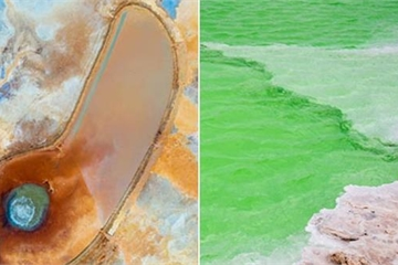 """Hồ nước xanh bạc hà kỳ lạ bao quanh """"Mắt quỷ"""" giữa sa mạc"""