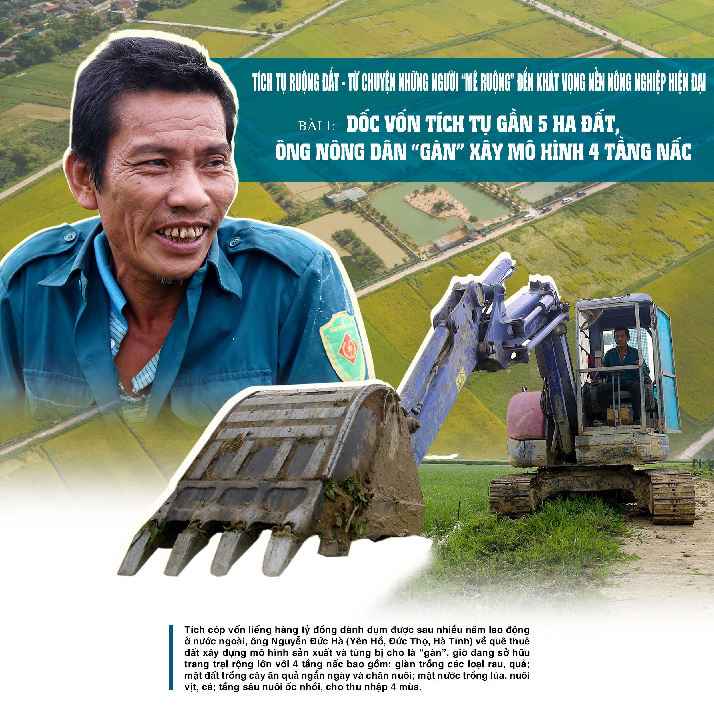 """Tích tụ ruộng đất - từ chuyện những người """"mê ruộng"""" và khát vọng nền nông nghiệp hiện đại (bài 1): Dốc vốn tích tụ 5 ha đất, ông nông dân """"gàn"""" xây mô hình 4 tầng nấc"""