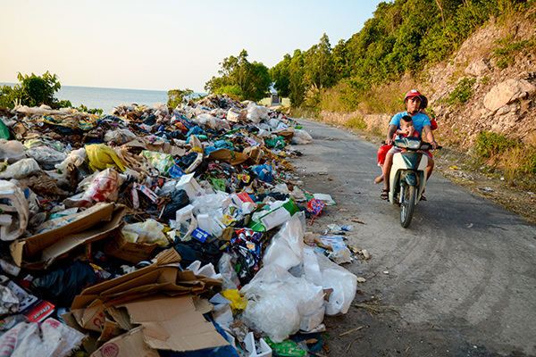 A stinky pile of garbage in Kien Giang