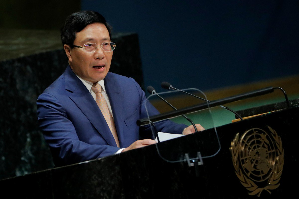 Vietnam's Deputy Prime Minister Pham Binh Minh addresses the 74th session of the United Nations General Assembly. Photo: Reuters