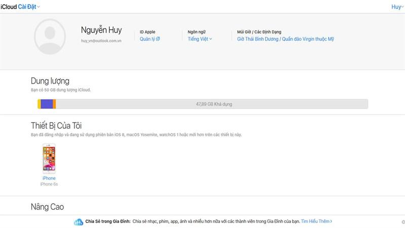 Nhận miễn phí dung lượng iCloud dùng thử