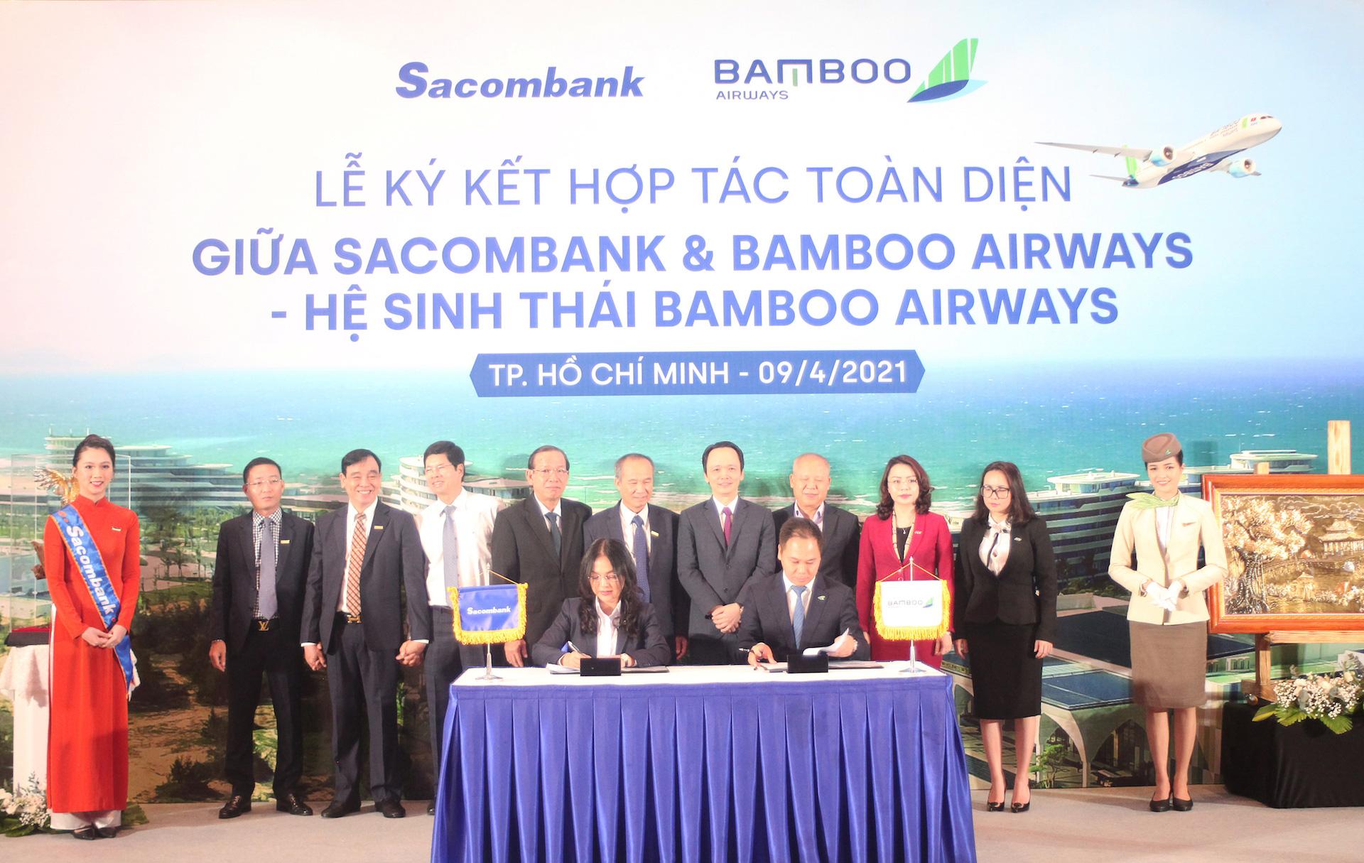 Chủ tịch Sacombank tại lễ ký hợp tác toàn diện với Bamboo Airways: 'Hai thương hiệu, triệu giá trị' - Ảnh 1.