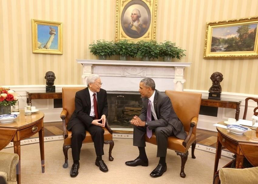 General Secretary Nguyen Phu Trong holds talks with US President Barack Obama at the White House during his official visit to the United States, July 7, 2015 (Photo: VNA)