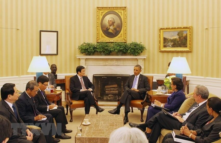 President Truong Tan Sang and President Barack Obama at the talks in Washington DC where they declared the two countries established comprehensive partnership, July 25, 2013 (Photo: VNA)