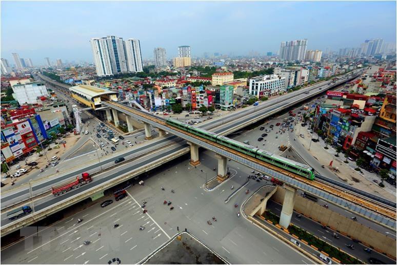 The 13 kilometre Cat Linh-Ha Dong urban railway has 12 stations (Photo: VNA)