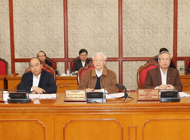 Top leader stresses avoiding complacency in COVID-19 fight hinh anh 1