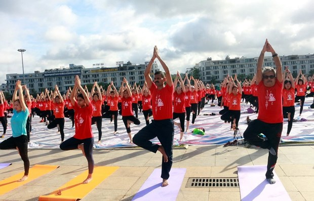 Int'l Yoga Day draws nearly 3,000 in Quang Ninh hinh anh 1