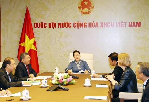 Top legislators of Vietnam, New Zealand hold online talks hinh anh 1