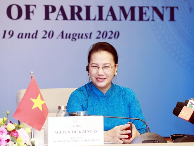 NA Chairwoman Nguyen Thi Kim Ngan attends fifth World Conference of Speakers of Parliament hinh anh 1