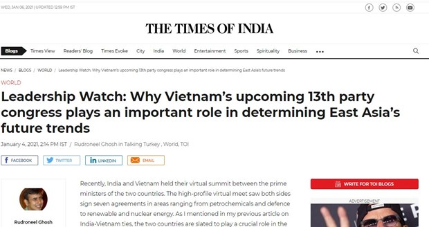 Indian newspaper highlights importance of Vietnam's 13th party congress hinh anh 1