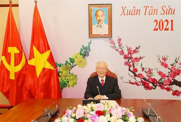 Top leader holds phone talks with new Secretary General of Lao People's Revolutionary Party hinh anh 1
