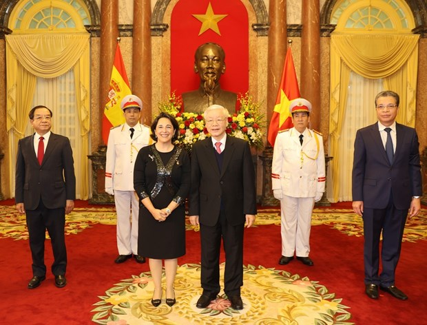 Top leader receives credentials of new ambassadors of Spain, Iran, Philippines hinh anh 1