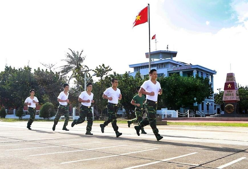 Garrisons on Truong Sa Lon island do exercise every day to ensure good health to meet tasks' requirements (Photo: VNA)