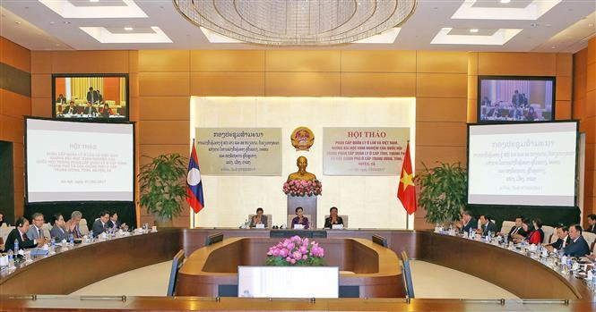 National Assembly Chairwoman Nguyen Thi Kim Ngan and her Lao counterpart Pany Yathotou co-chair a workshop to share experience in management decentralisation from the central to the grassroots levels, Hanoi March 7, 2017 (Photo: VNA)