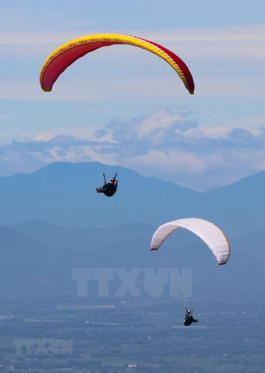 The paragliding contest is aimedat examining the technical capability of Son Tra as a paragliding destination (Photo: VNA)<br />