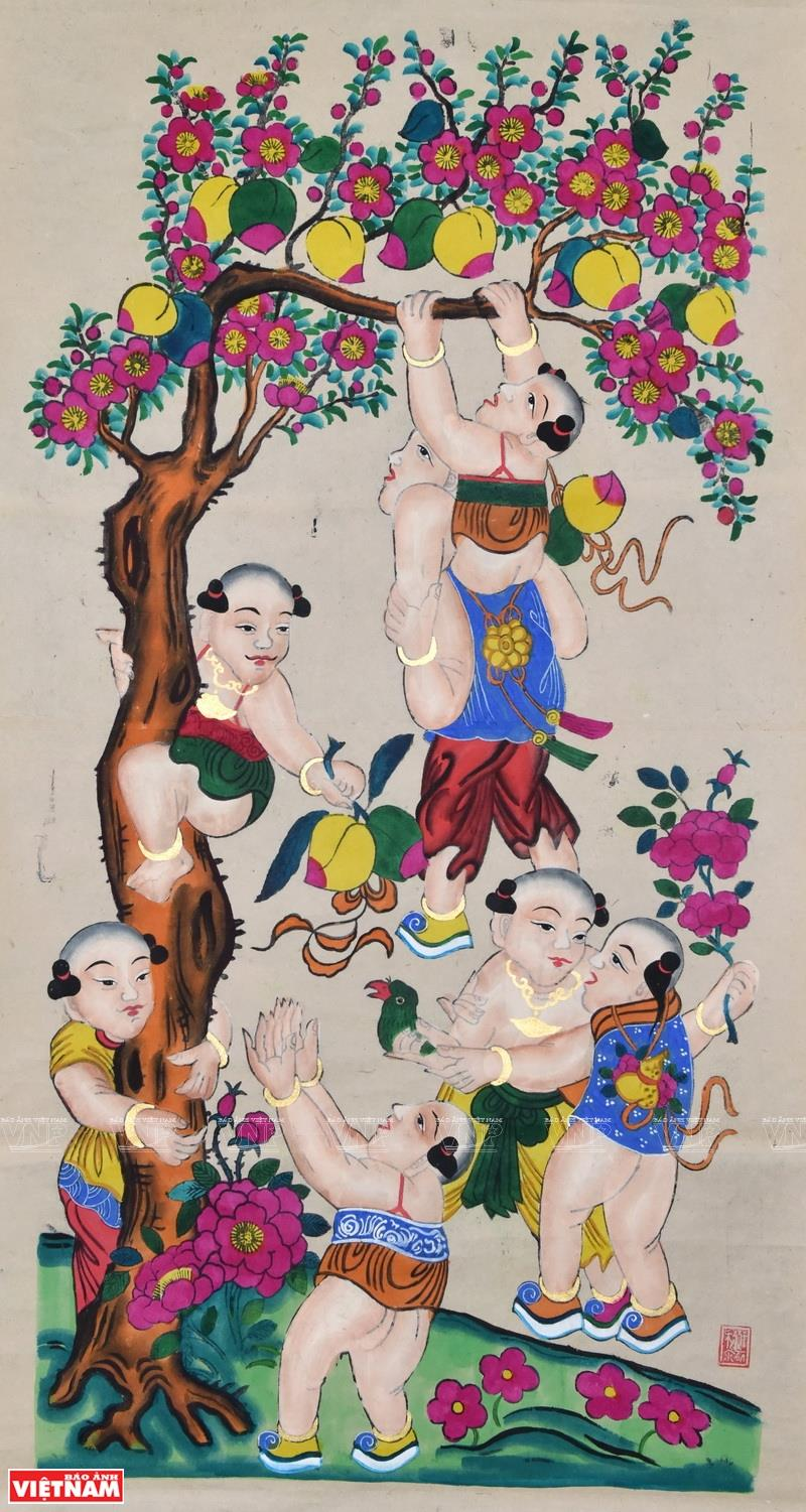 Many researchers affirm that Hang Trong paintings are strongly influenced by the regional thoughts, culture and religions of Buddhism, Taoism and Confucianism (Photo: VNA)
