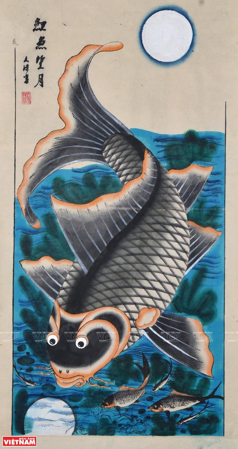 Painting 'Ly ngu vong nguyet' (Carp watching the Moon) (Photo: VNA)