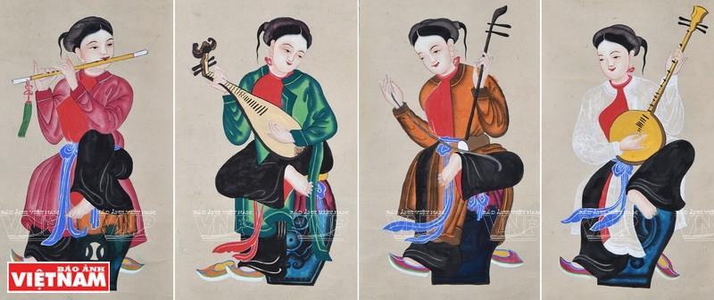 Painting 'Tu binh' (Four female musicians) (Photo: VNA)