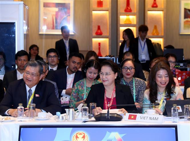 National Assembly Chairwoman Nguyen Thi Kim Ngan leads a delegation of Vietnamese parliament officials to attend the AIPA Executive Committee Meeting which is part of the 40th General Assembly of AIPA (Photo: VNA)