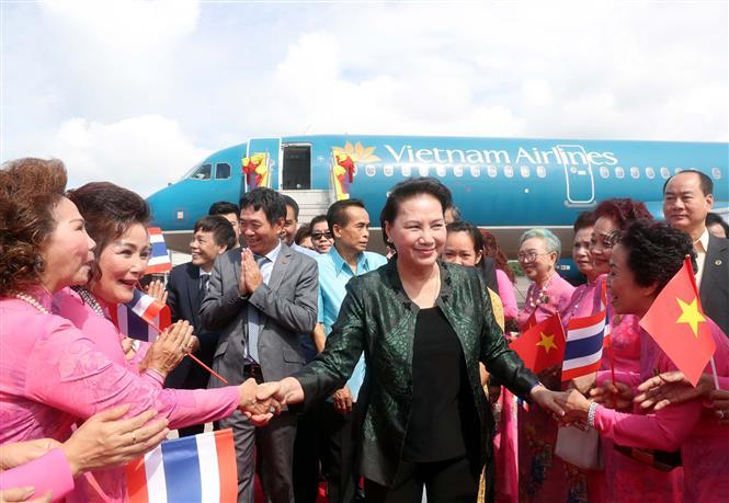National Assembly Chairwoman Nguyen Thi Kim Ngan arrives in Udon Thani province, as part of her ongoing official visit to Thailand, August 28 (Photo:VNA)